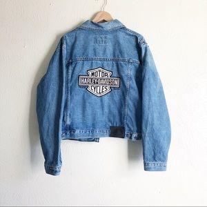 Harley Davidson Denim Embroidered Logo Jacket